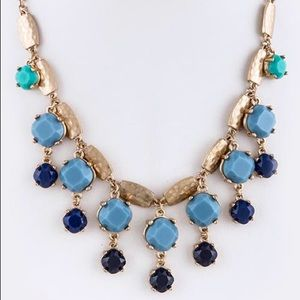 Blue gold tone dangle necklace new